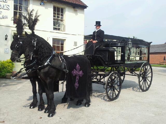 black-horse-drawn